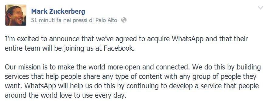 WhatsApp è ufficialmente di Facebook [BREAKING NEWS]