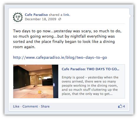 cafè paradiso su facebook