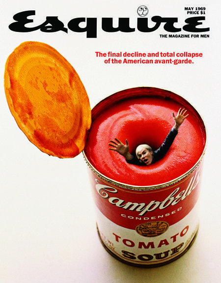 Esquire magazine: Andy Warhol annega nella Campbell Soup