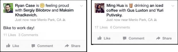 aggiornamenti di stato visivi su facebook