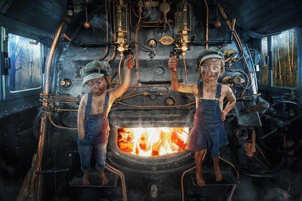 bambini in sala macchine