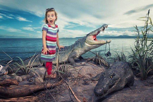bambina e coccodrilli