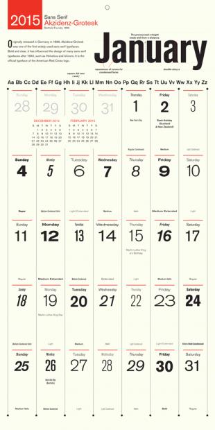 Just Type calendar 2015 Gennaio
