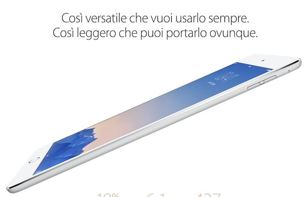Apple, le novità dal keynote: ecco il nuovo iPad Air 2