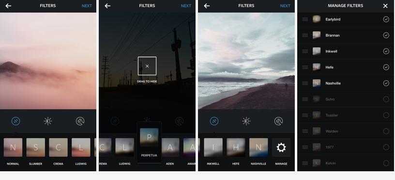 Nuova gestione filtri Instagram