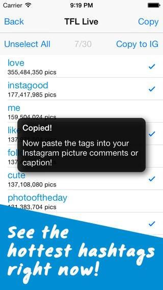 tags for likes app