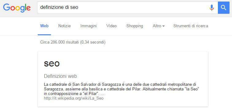 definizione di seo su google