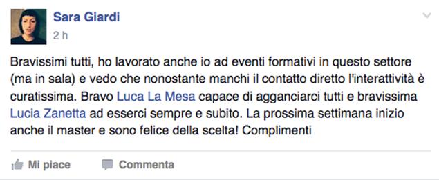 commenti fb sul Corso Online in Facebook Marketing
