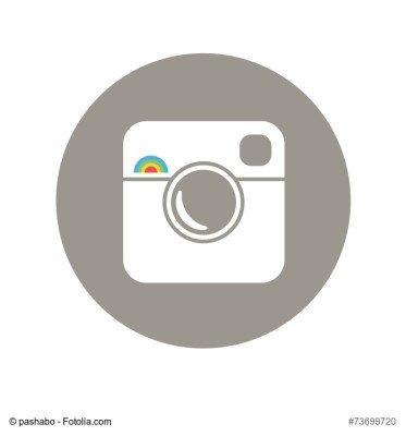 Hipster Photo Icon with Rainbow Sign