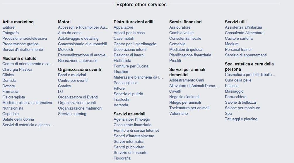 categorie facebook services