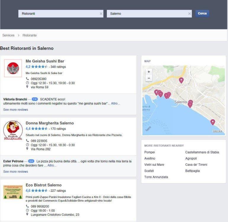 risultati ricerca facebook services