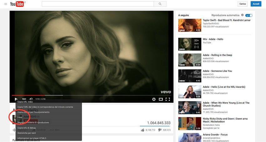 YouTube: arrivano i video in loop