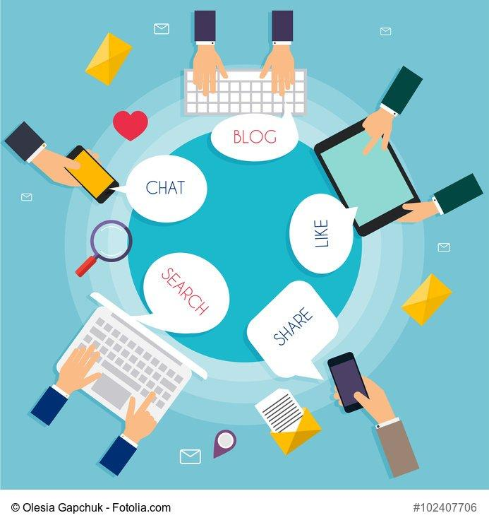 Social Network Vector Concept. Carton speech bubbles with Social Media Words. Flat Design Illustration for Web Sites Infographic Design with laptop avatars. Communication Systems and Technologies.