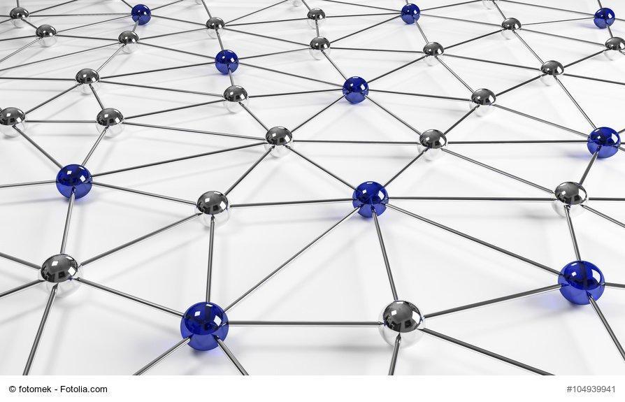 3d Netzwerk blau