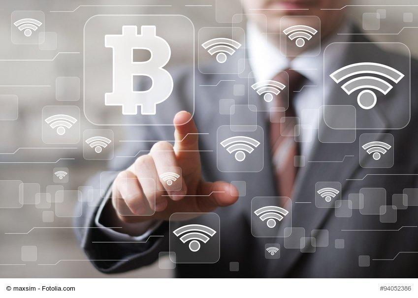 Businessman pressing sign button web bitcoin icon wifi