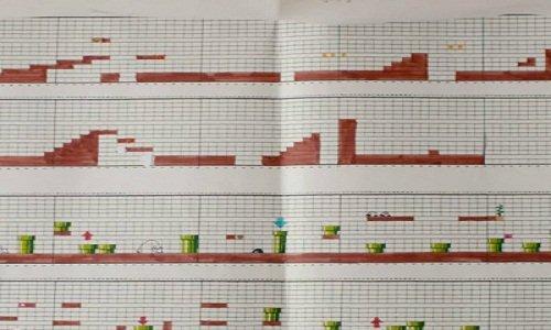 I disegni originali di Super Mario Bros, su carta e penna