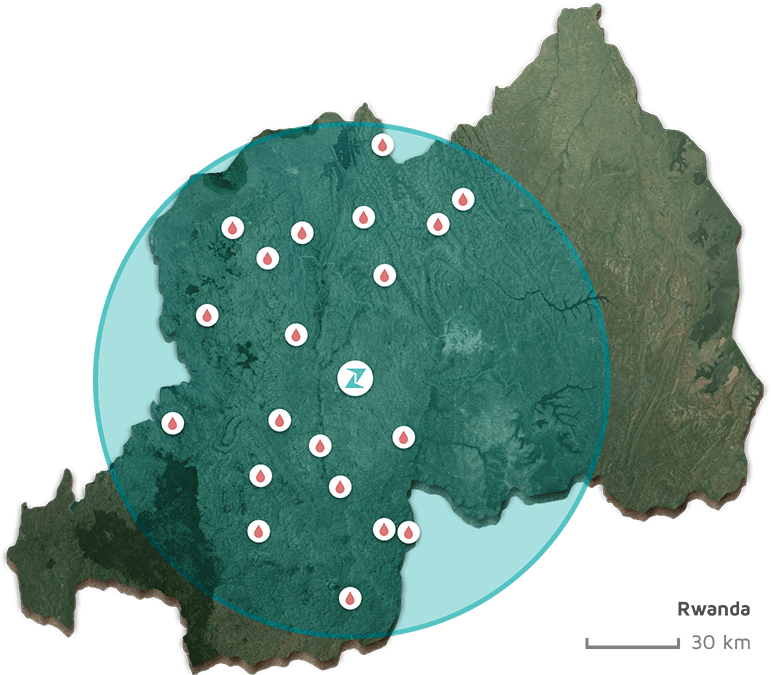 Rwanda map Zipline
