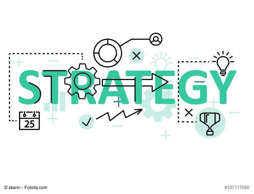 Strategy concept flat line design with icons and elements. Modern strategy concept vectors collection. Strategy concept lettering