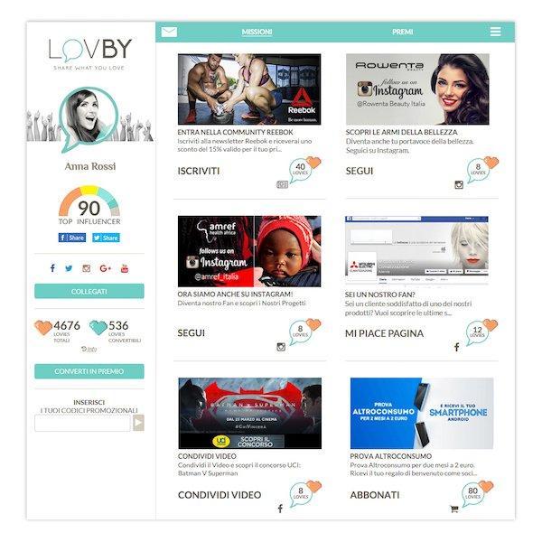LovBy - Pagina missioni
