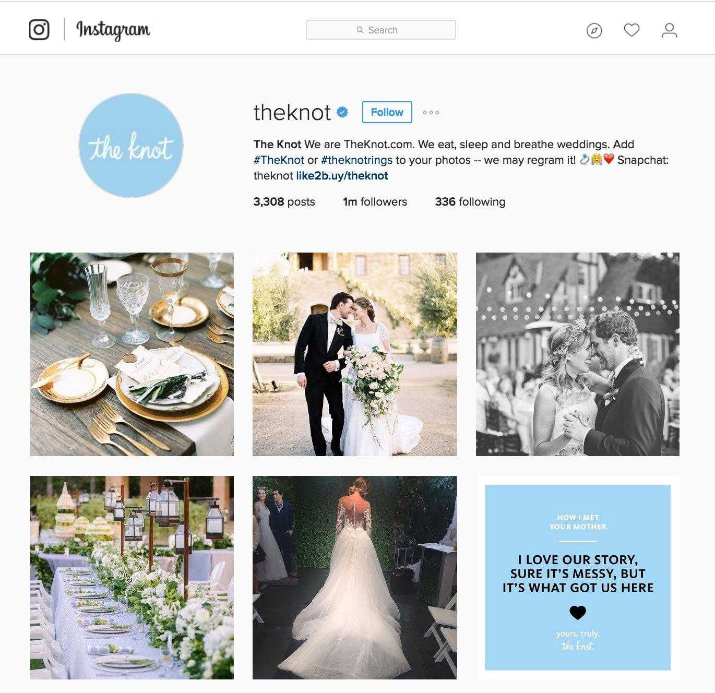 Cinque suggerimenti da The Knot: la pagina Instagram che senza Adv ha raggiunto 1 milione di follower