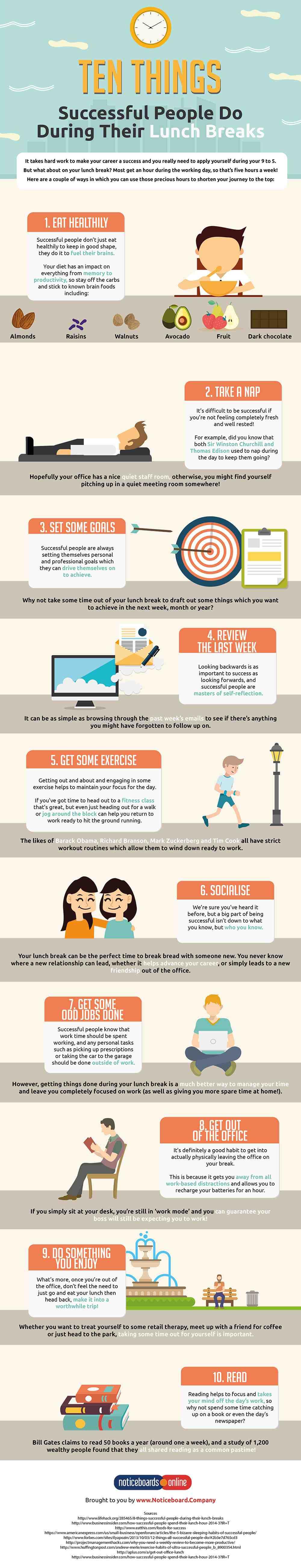 10 cose che le persone di successo fanno in pausa pranzo [INFOGRAFICA]