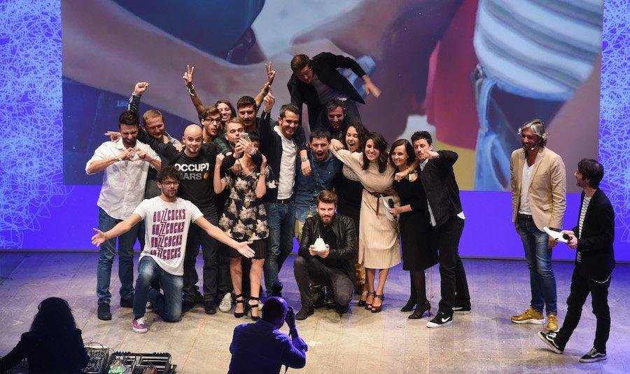 MILAN, ITALY - OCTOBER 08: The winners pose with the award during the ADCI Gran Prix Awards 2016 (WE ARE SOCIAL) at the IF! Italians Festival 2016 at Franco Parenti Theater on October 8, 2016 in Milan, Italy. (Photo by Pier Marco Tacca/Getty Images for Italians Festival)