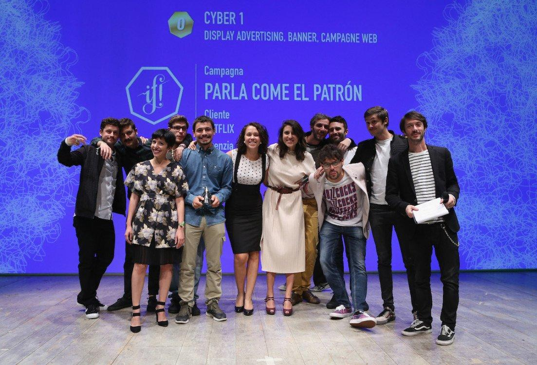 MILAN, ITALY - OCTOBER 08: The winners pose with the award during the ADCI Awards 2016 at the IF! Italians Festival 2016 at Franco Parenti Theater on October 8, 2016 in Milan, Italy. (Photo by Vincenzo Lombardo/Getty Images for Italians Festival)