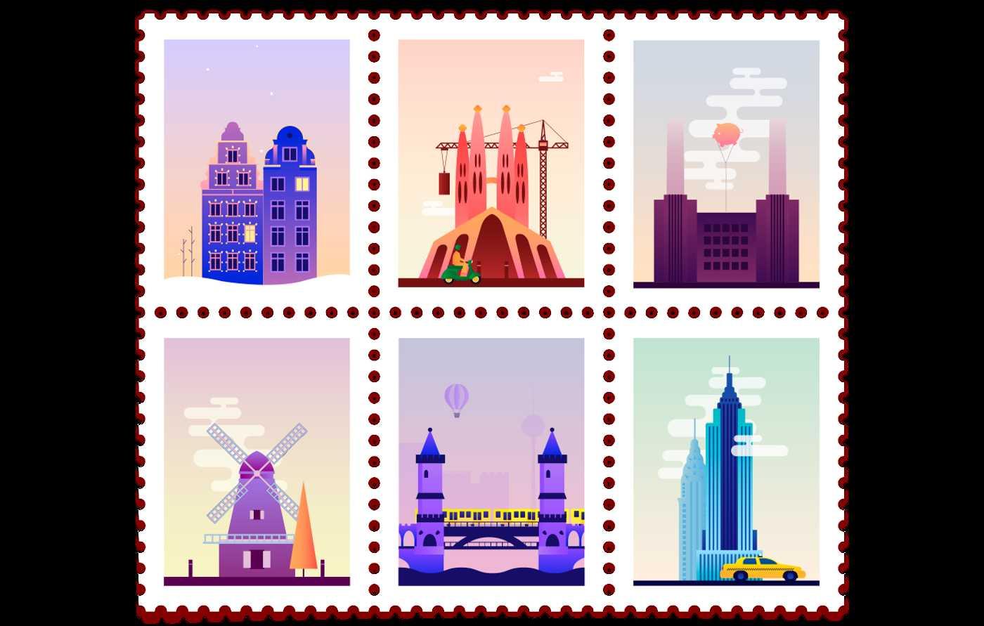 Da New York a Barcellona, i francobolli gif di Claudia Mussett