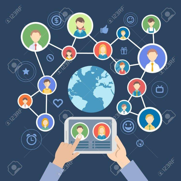 39543607-people-communicate-in-a-social-network-Stock-Vector