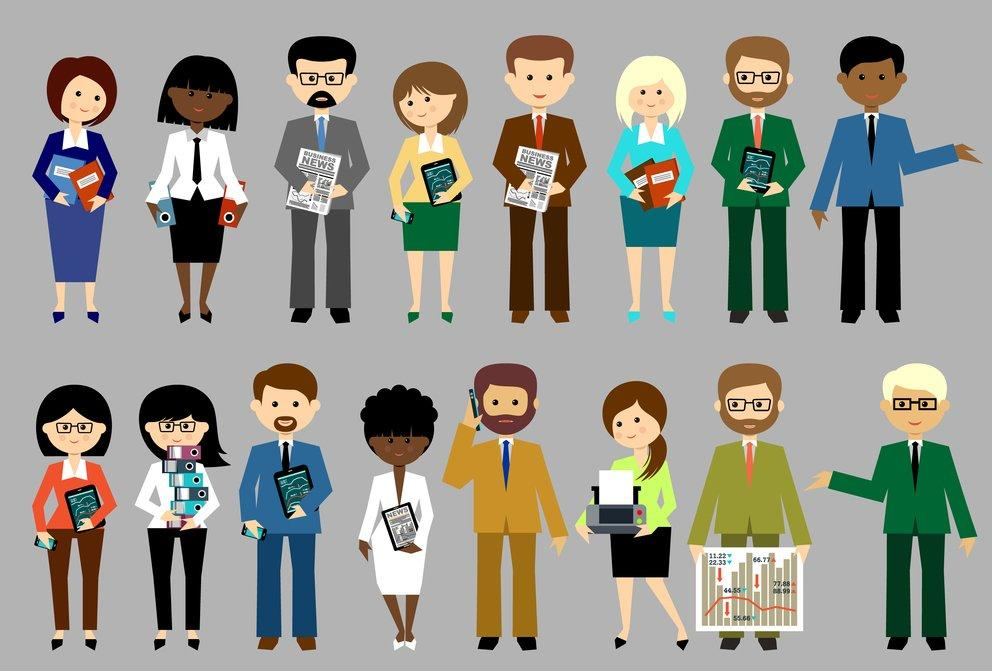 Big set of vector business people with office items