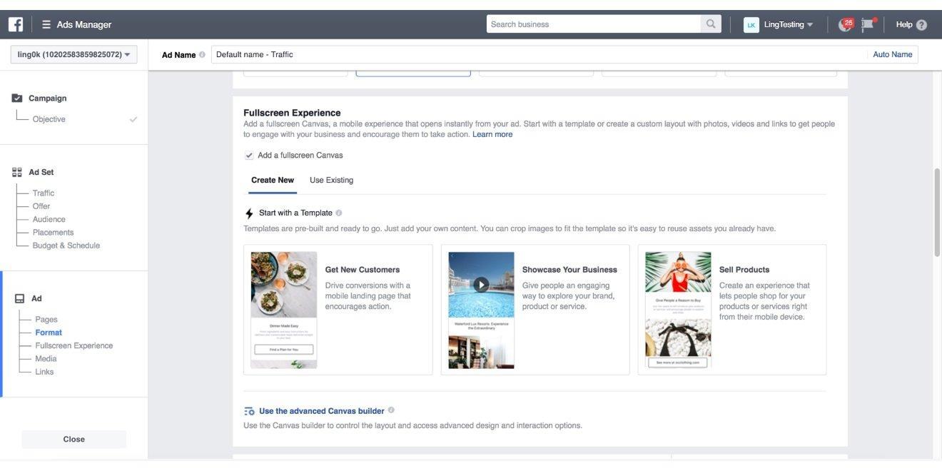 Nuovi template di Facebook Canvas