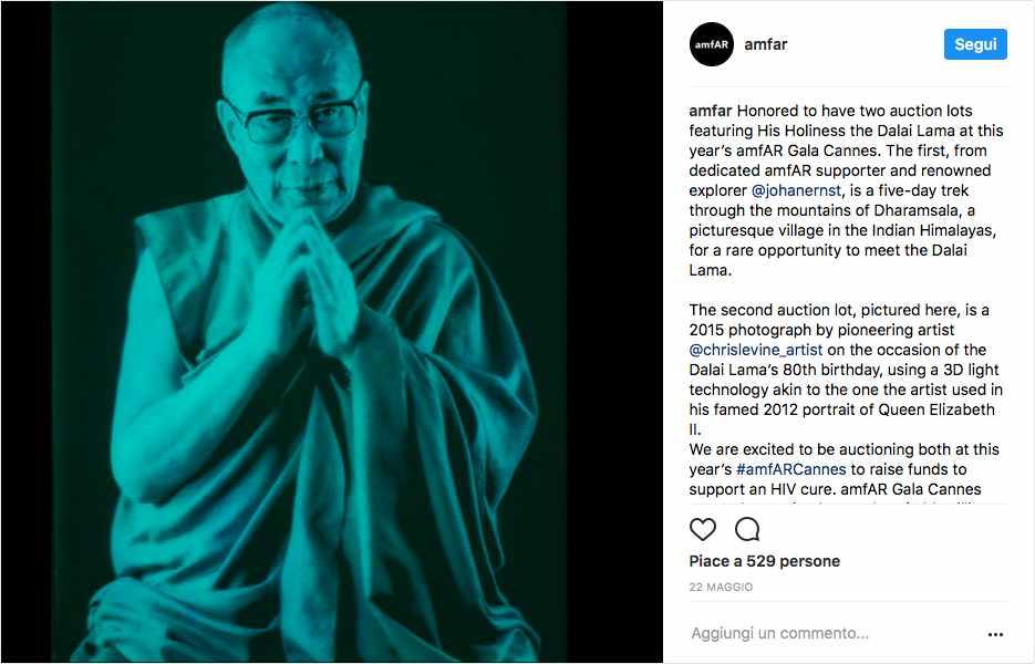 foto del Dalai Lama nell'Instagram post dell'amfar gala di Cannes