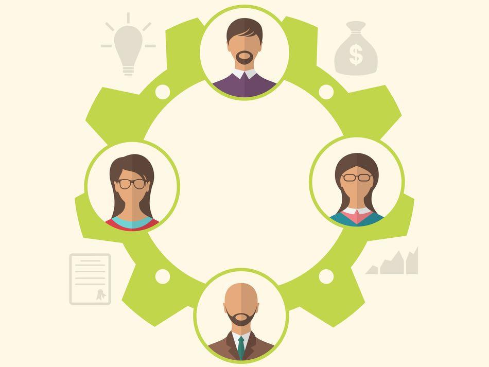 Illustration unity of business people leading to success - raster