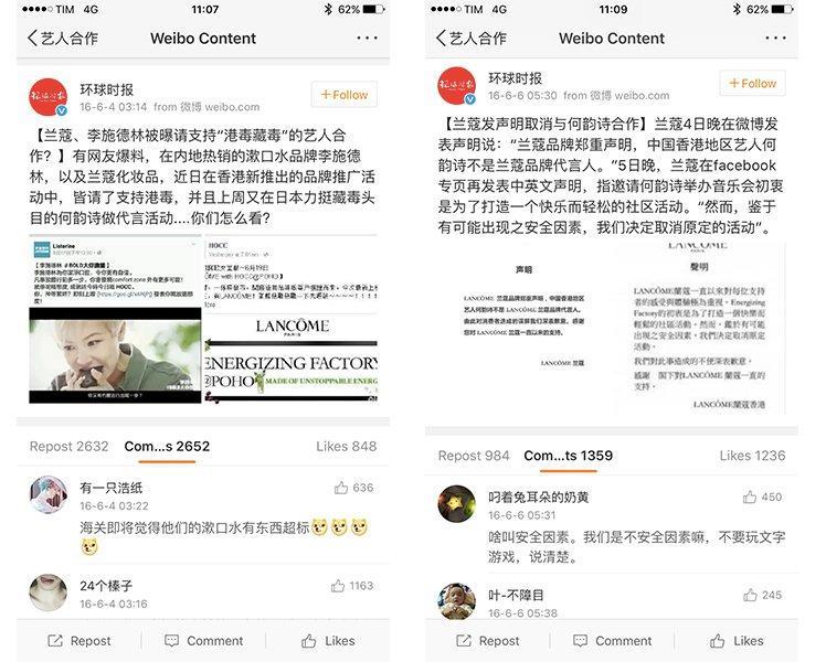 cattura schermo dell'account weibo del global times riguardo caso Denis Ho e Lancome
