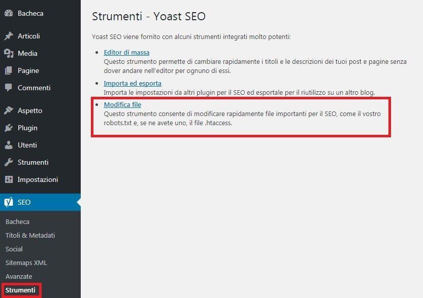 gestire sitemap e robots con yoast