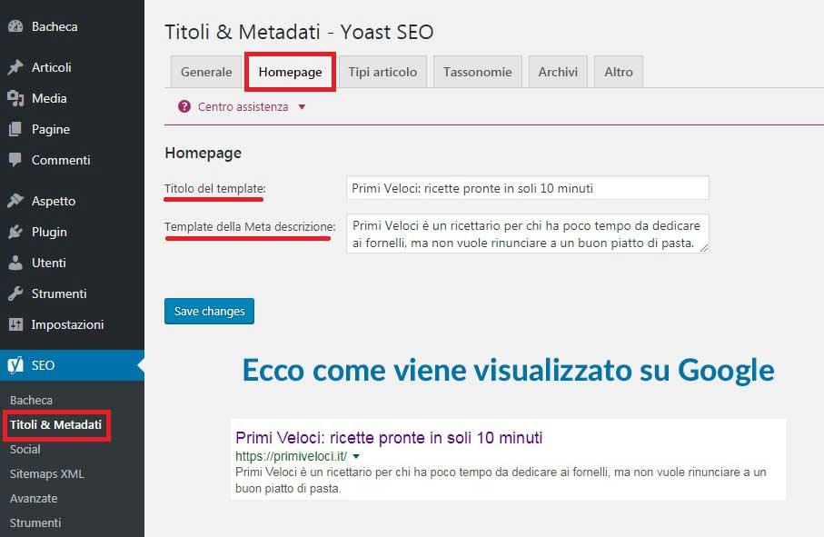 schermata di yoast, relativa a title e metadati