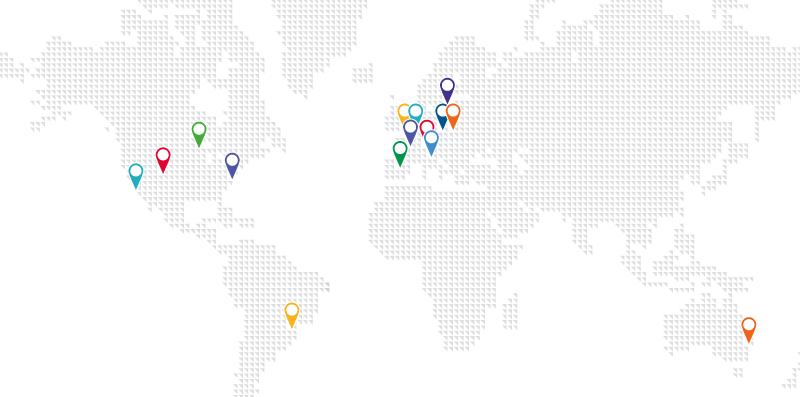 mappa del mondo con le sedi di Awin