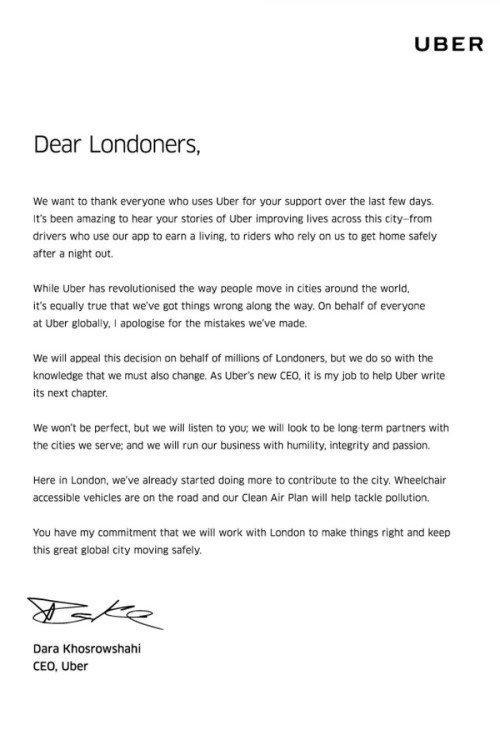 lettera ceo di uber londra