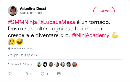 Feedback di uno studente del corso di social media marketing online di Ninja Academy
