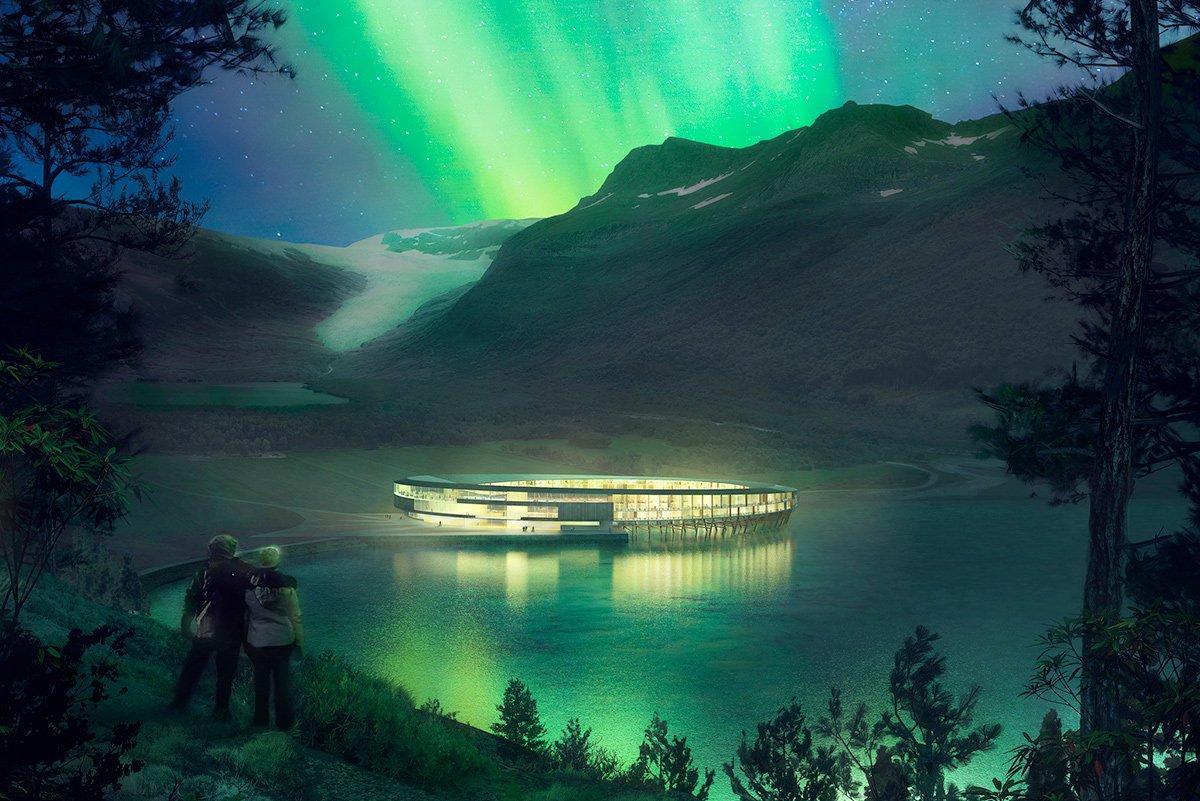 In Norvegia l'hotel del futuro: un anello di legno sull'acqua (che consumerà l'85% di energia in meno)