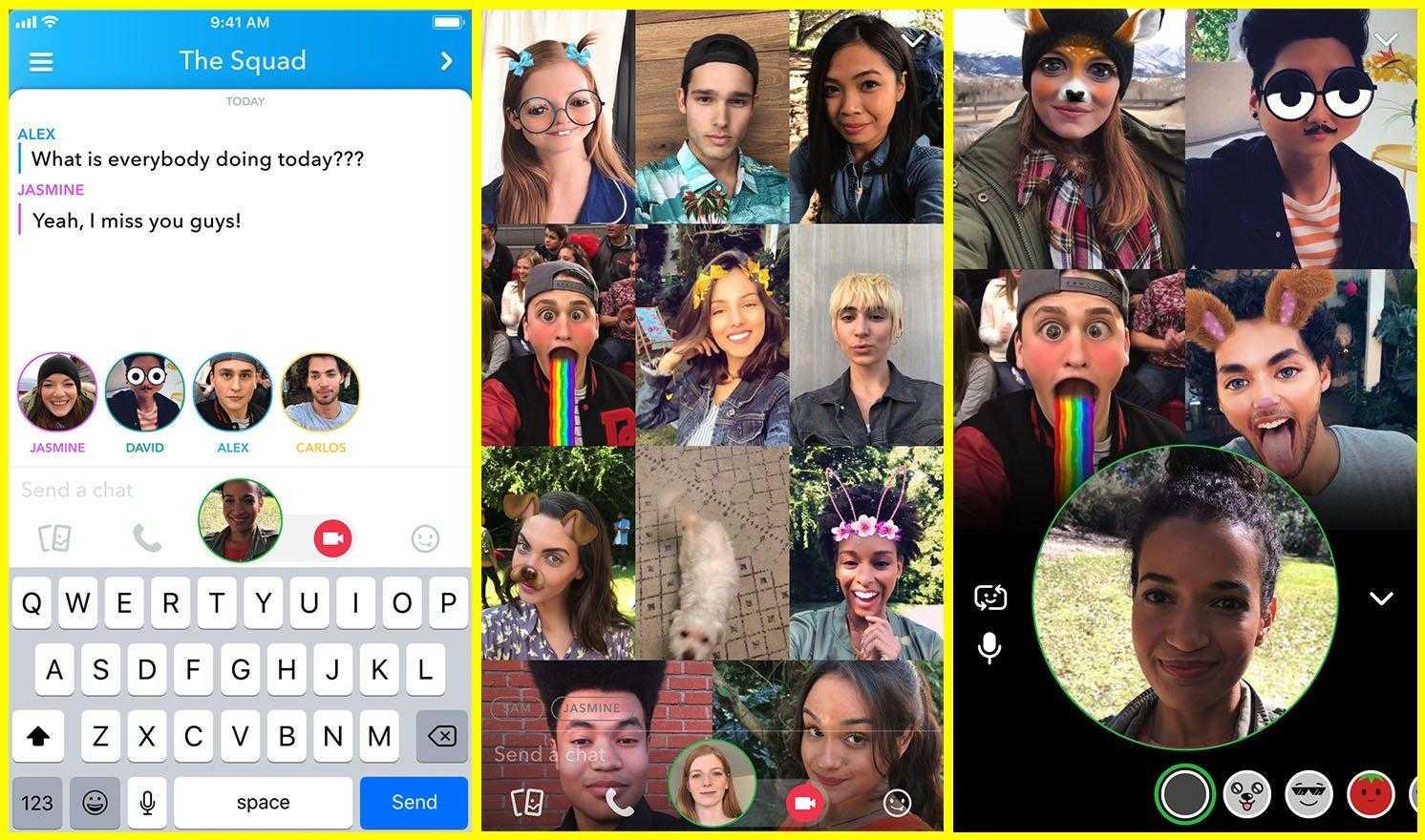 E ora su Snapchat arrivano anche video chat di gruppo e mentions
