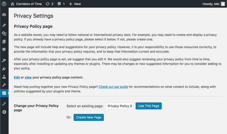privacy-policy wordpress gdpr