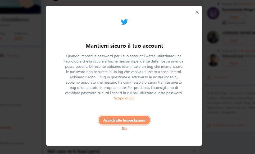 Twitter scopre un bug e chiede a tutti di cambiare password