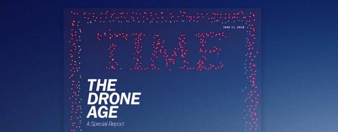 Il Time ha usato 958 droni per creare una copertina gigante nel cielo