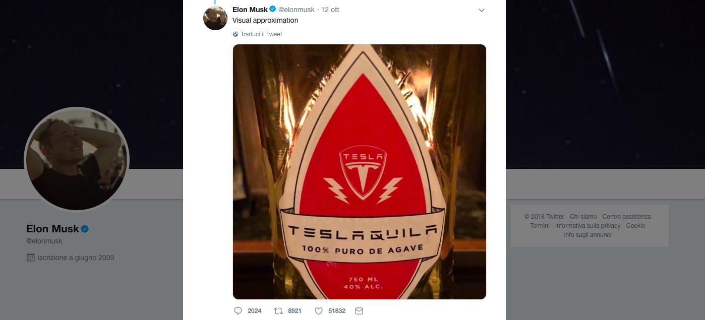 …E Musk ha registrato anche un brevetto per la TeslaTequila