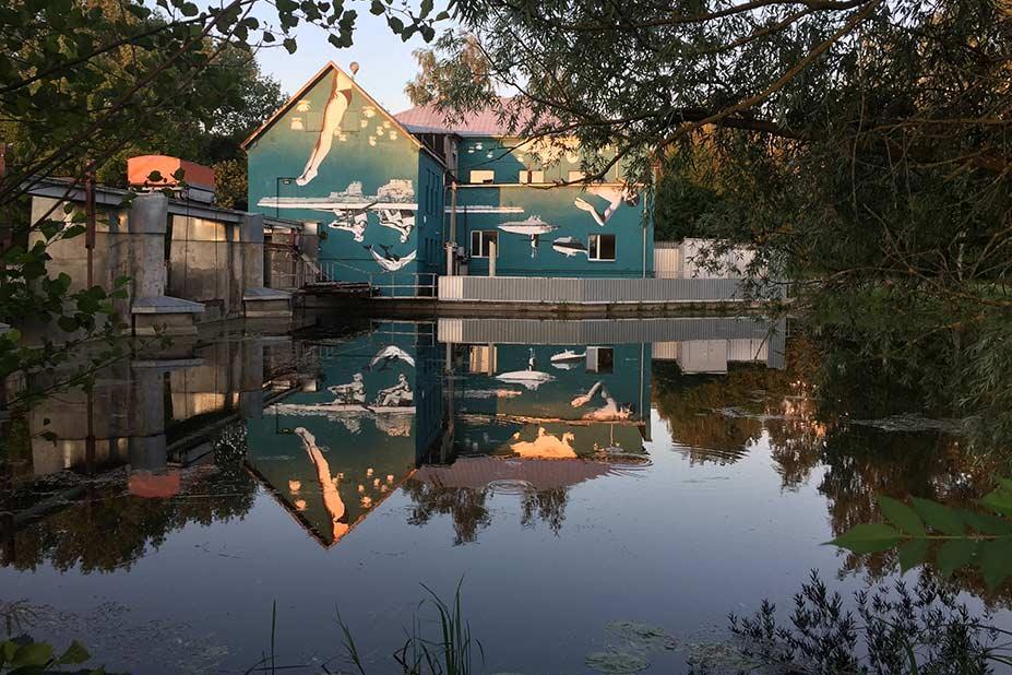 Il murales capovolto che si specchia nel fiume ci mostra la bellezza di una prospettiva diversa