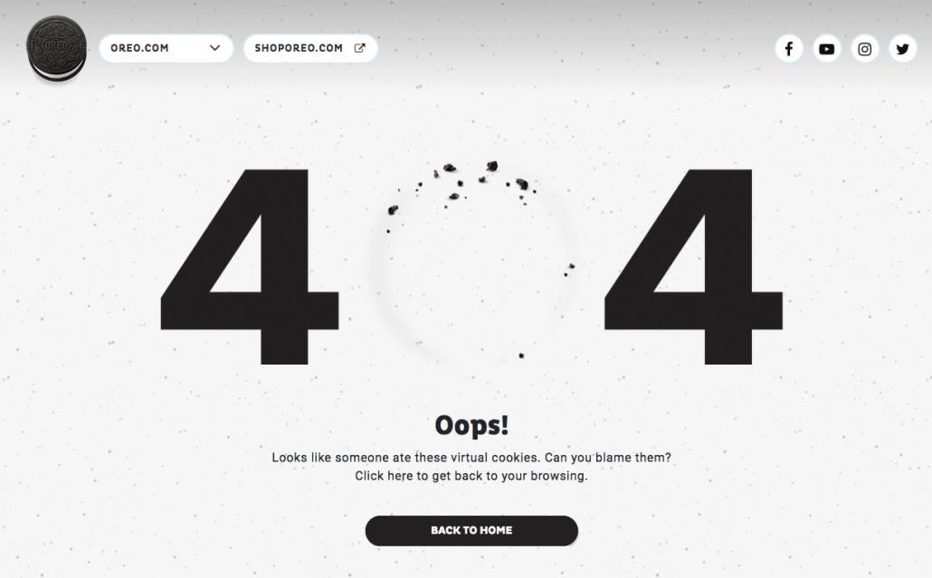 oreo 404 error page
