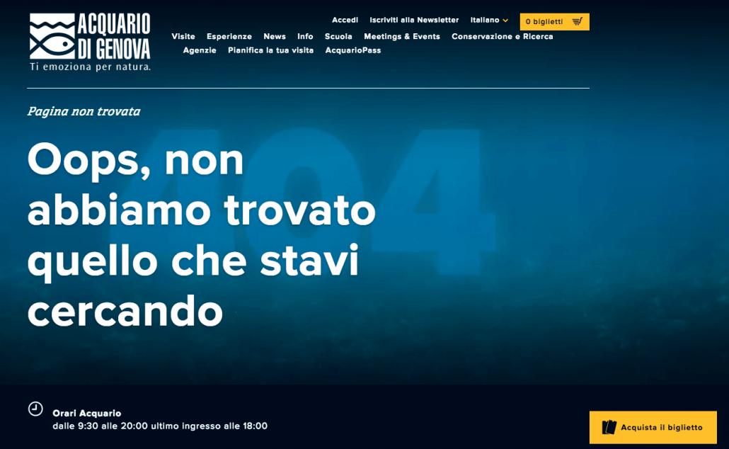 acquario di genova 404 error page