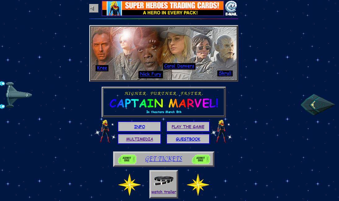 Il sito per il film di Captain Marvel è un sogno per i nostalgici degli anni '90