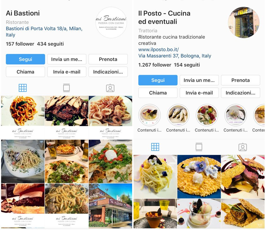 Instagram pulsante prenota